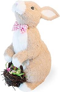 Boston International GTC20008 Decorative Easter Tabletop Figurine, 16-Inches, Floyd Bow-Tied Rabbit