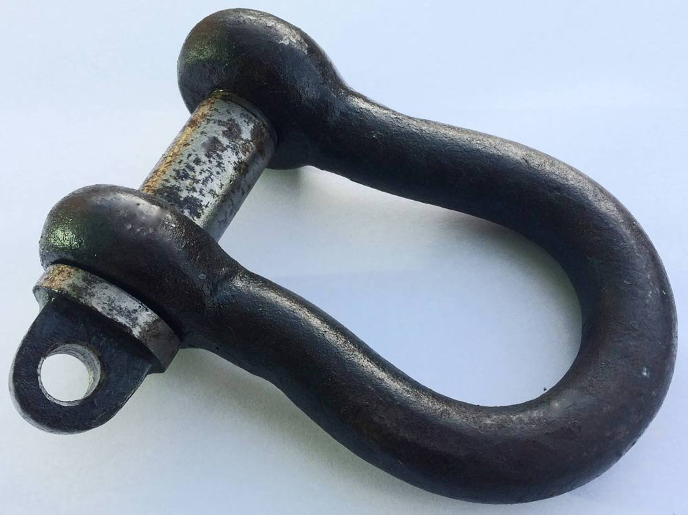 2 x 1 TON SELF COLOUR SMALL BOW SHACKLES to BS3032 with SCREW PIN lifting towing