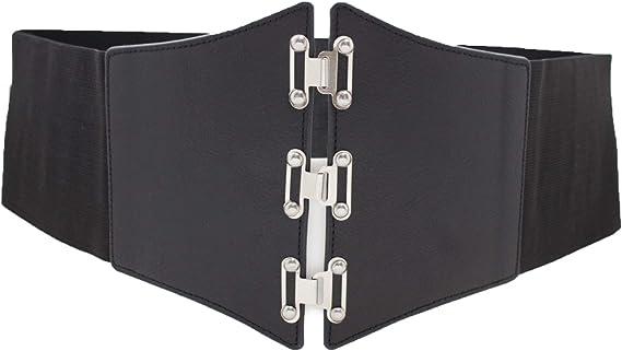Women High Waist Black Faux Leather Trendy Corset Stretch Belt Silver Hooks S M