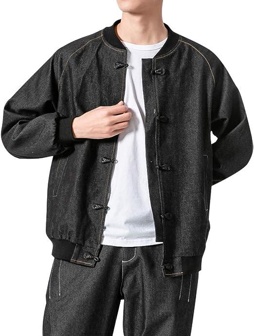 デニムジャケット メンズ 野球襟 ブルゾン 長袖 チャイナボタン おしゃれ ゆったり 若い カジュアルジャケット アウター 大きいサイズ メンズファッション 3色