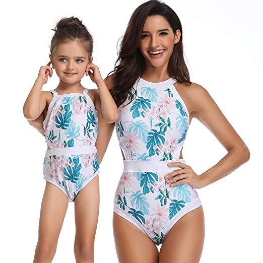 24a98526c93 Mommy and Me One Piece Bikini Set Family Matching Swimwear Baby Girls  Halter Printed Swimsuits 2