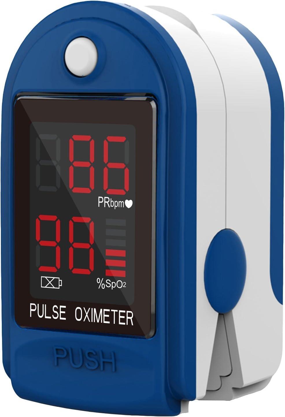 fingerpulsoximeter cms de 50DL Medidor de frecuencia cardíaca Pulso Medición de saturación de oxígeno con pantalla LED incl. Pilas/funda/carcasa de silicona, correa