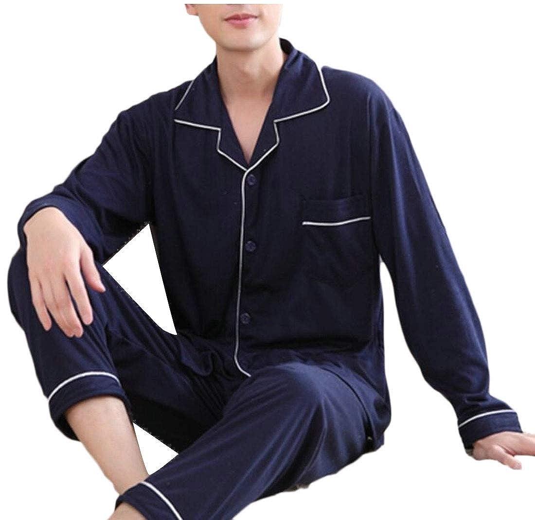 ouxiuli Men Comfort Sleepwear 2PC Set Jacket and Pants Homewear Pajamas Set