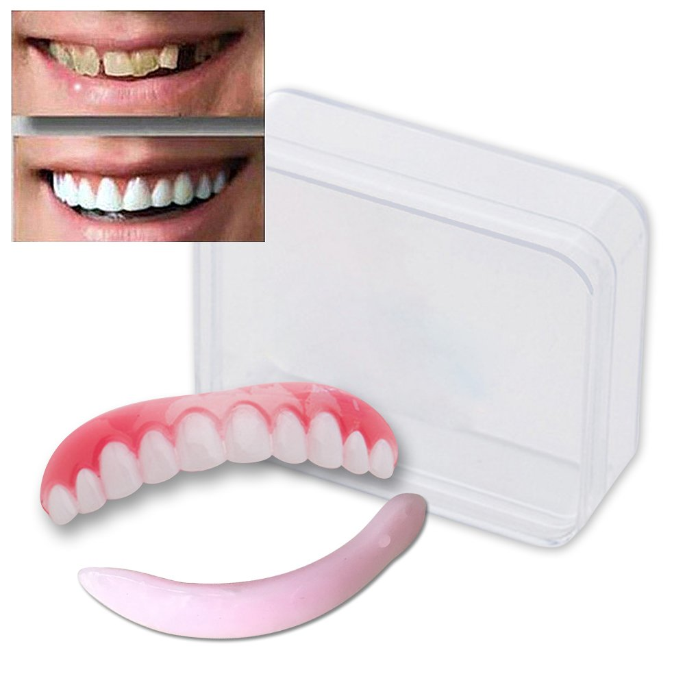 EHOLIFE Cosmetic Teeth for Women Men 1 Pack.(Small, Bleached) Uppers Only Arrives Flat (M) As Seen On TV