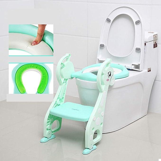 KUANDARYJ Aseo Escalera Asiento Escalera de Niños, Adaptador WC para Niños con Escalera Antideslizante, Agarraderas Grandes, Asiento de Entrenamiento de Inodoro Ajustable y Plegable, Green: Amazon.es: Deportes y aire libre