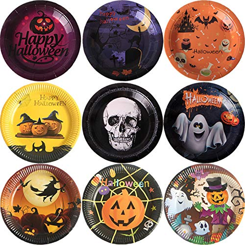 Halloween Party 7' Dessert Plates - 50 Pack Disposable Plates,Count Paper Plates, Halloween Party Supplies for Appetizer, Lunch, Dinner, and Dessert, Witch and Monsters Design, 7 Inches Diameter(random style)