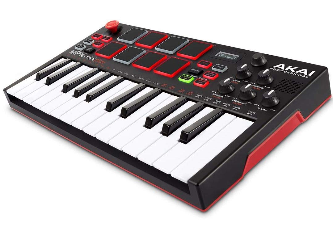 Akai Professional MPK Mini Play   Standalone Mini Keyboard & USB Controller With Built In Speaker, MPC Style Pads, On board Effects, 128 Instrument & 10 Drum Sounds, & Software Suite Included by Akai Professional