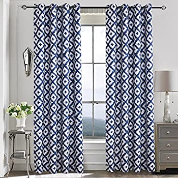 navy and white curtains Amazon.com: Blackout Curtains Drapes Navy White   Anady 2 Panel  navy and white curtains