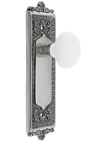Egg U0026 Dart Style Door Set With White Porcelain Door Knobs Single Dummy In  Antique Brass