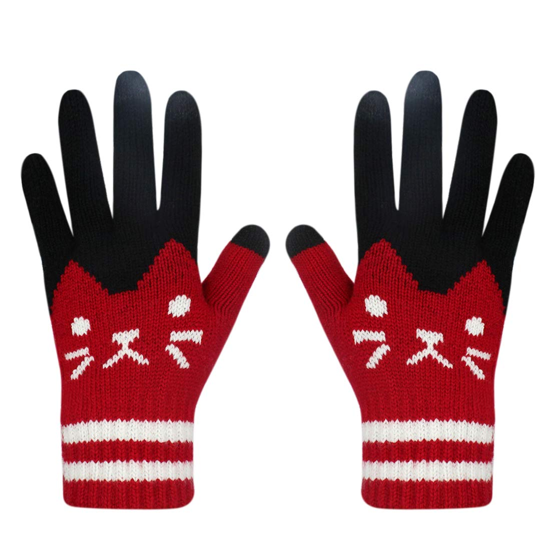 Women Men Winter Touch Screen Gloves Cat Warm Knit Texting Gloves Touchscreen Mittens Aimeio