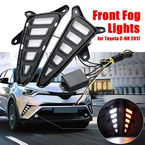 Chr Bar (Dreamyth 2Pcs White/Yellow LED DRL Daytime Running Lights For Toyota CHR C-HR 2016-2018 Practical)