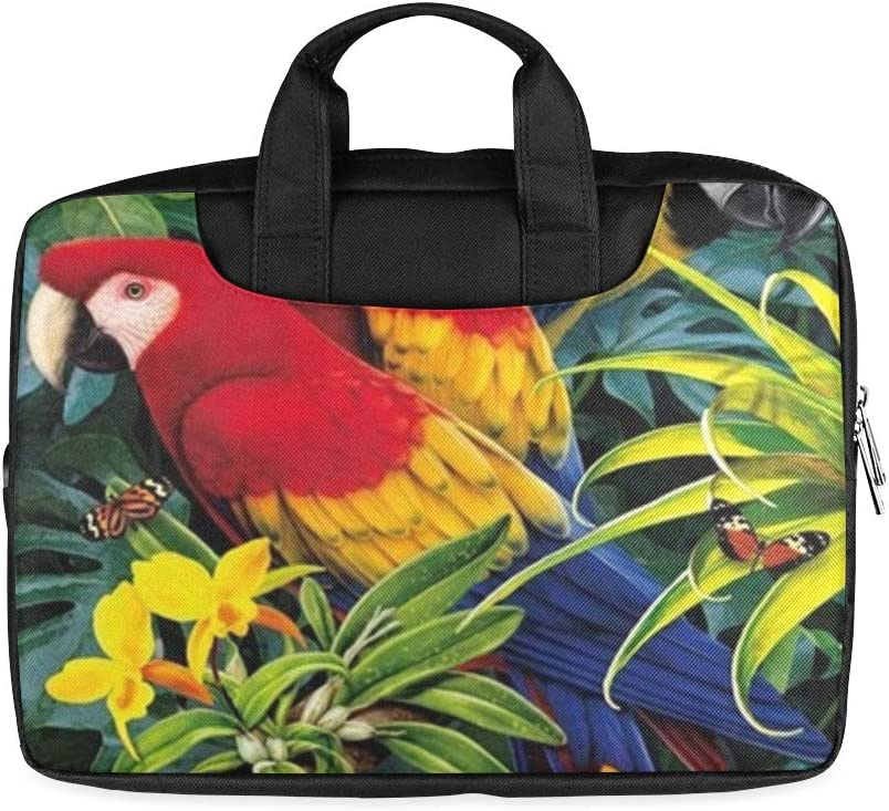 13 Inch Tropical Parrot Macaw Butterfly Wildlife Jungle Womens Laptop Briefcase with Handle Lightweight Laptop Bags for Men Fits MacBook Air Pro
