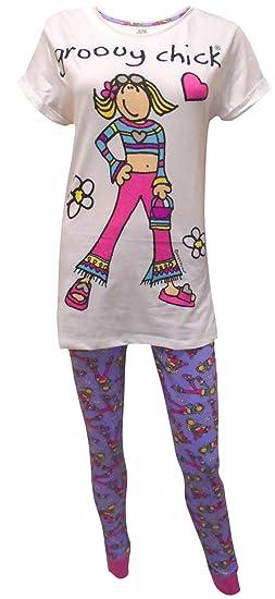 IndieGo Distribution Ltd Womens Groovy Chick Pyjamas White Off White   Amazon.co.uk  Clothing 97e186877