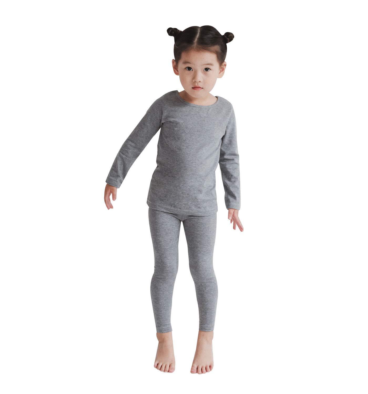 Modal Cotton Thermal Long Underwear Set Breathing Base Layer Long John Pajama for Boy Girl Toddler (7~8 Year, Gray)