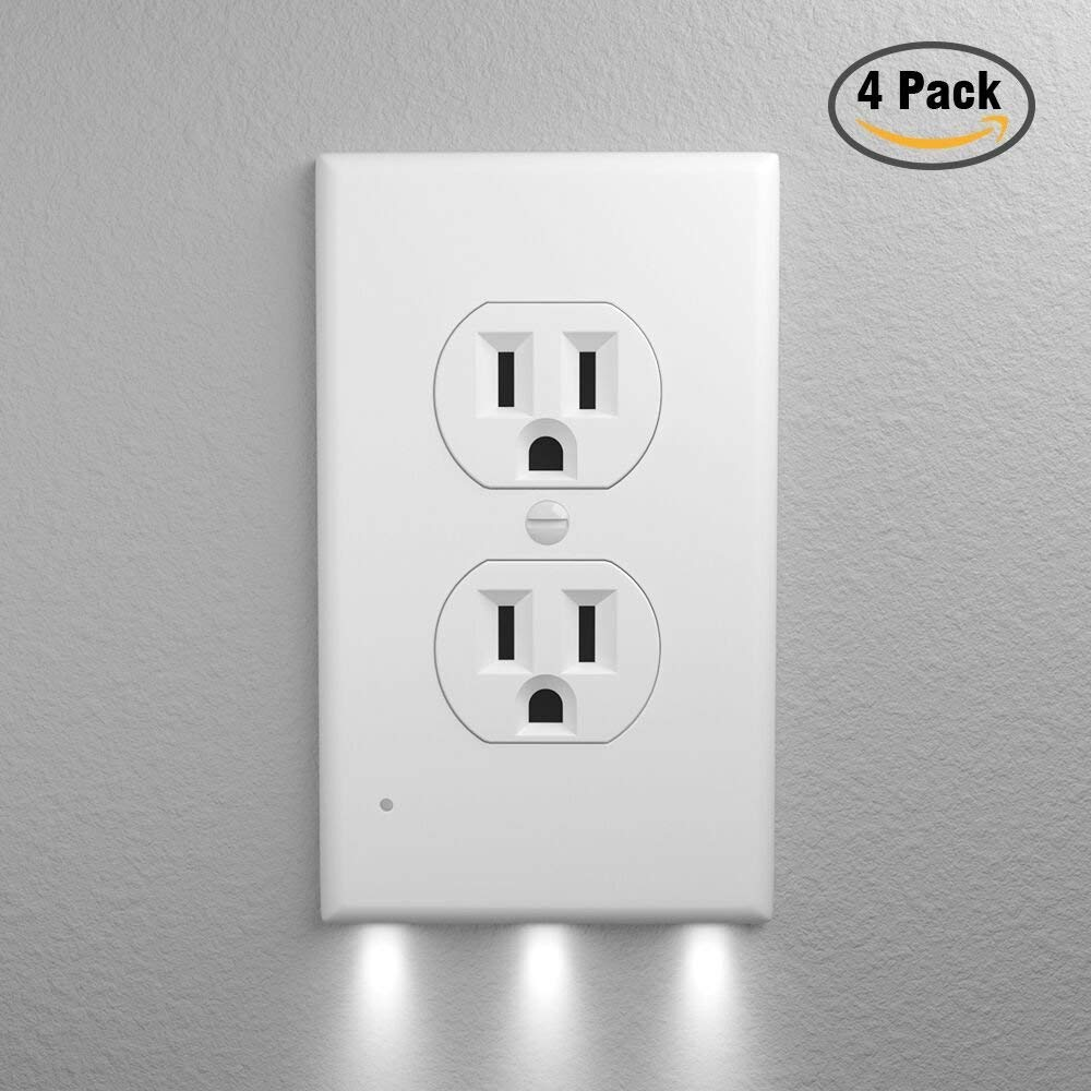 Funria Outlet Wall Plate with Led Night Lights, Duplex Outlet Plate Cover with Senor Light for Home and Kitchen, No Wires and No Batteries (4 Pack)
