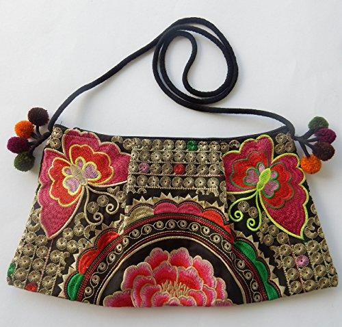 pequeños flores con de de bolso Ariyas pájaros Hmong Thai patrón tradicional y handbestickt Shop algodón qP0wwES7p