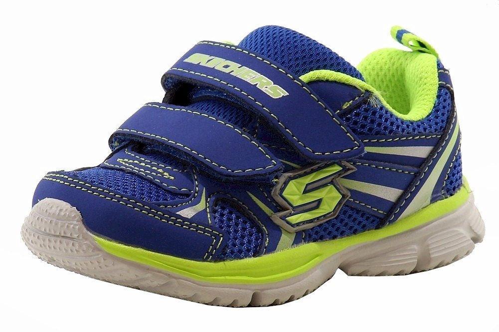 Skechers Kids 95083N Speedees - Burn Outs Sneaker,Blue/Lime,6 M US Toddler