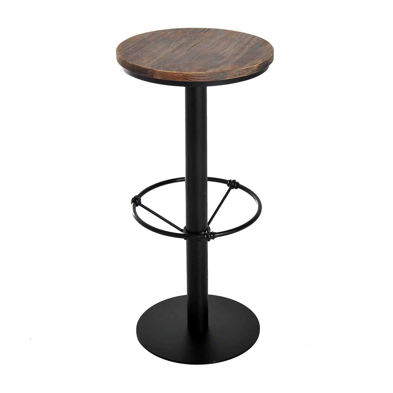 HomCom 42'' Rustic Industrial Metal Pine Wood Top Bar Height Adjustable Standing Pub Table by HOMCOM