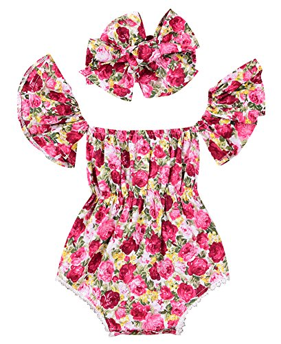 Baby Girls Flower Print Ruffle Sleeve Romper Off Shoulder Tassel Pompon Bodysuit (70(0-6M), - Heart Romper