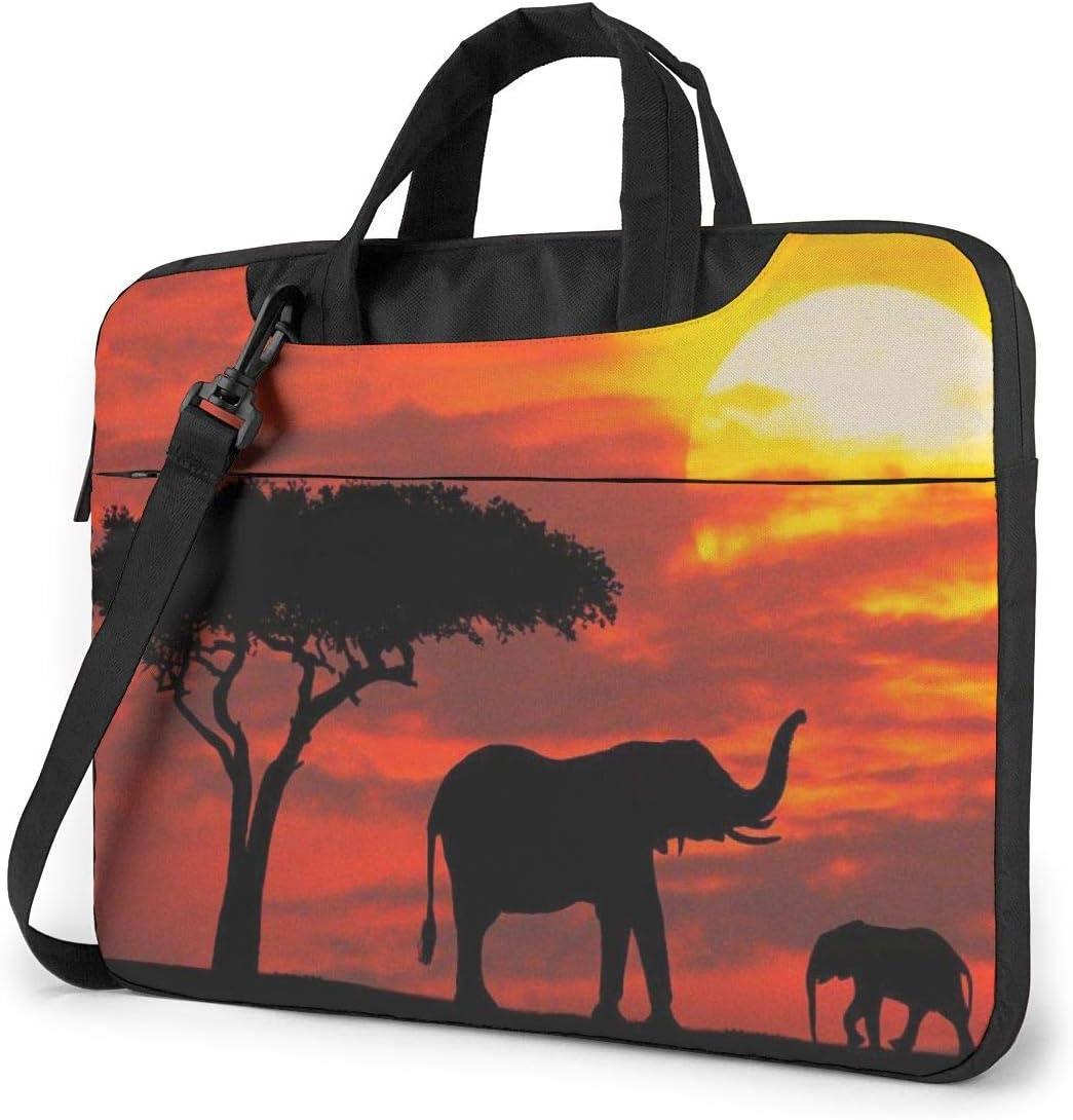 Elephant Sunset Printed Laptop Shoulder Bag,Laptop case Handbag Business Messenger Bag Briefcase