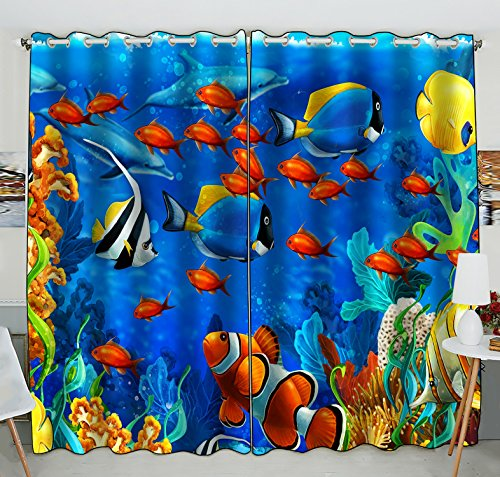 Custom Sea World Window Curtain,Underwater World Ocean Animals Fish Coral Grommet Blackout Curtain Room Darkening Curtains Bedroom Kitchen Size 52(W) x 84(H) inches (Two Piece) by Unknown