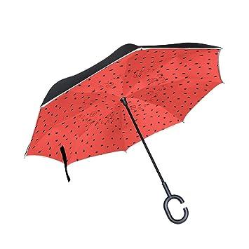 Mnsruu Paraguas invertido, patrón de sandía, Doble Capa, Paraguas Plegable, Resistente al