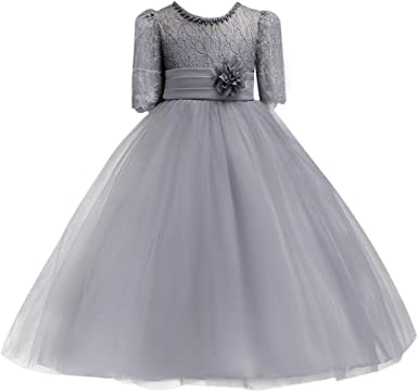 SIMPLE TEA-LENGTH FLOWER GIRL DRESS RECITAL BIRTHDAY WEDDING BRIDESMAID LITTLE
