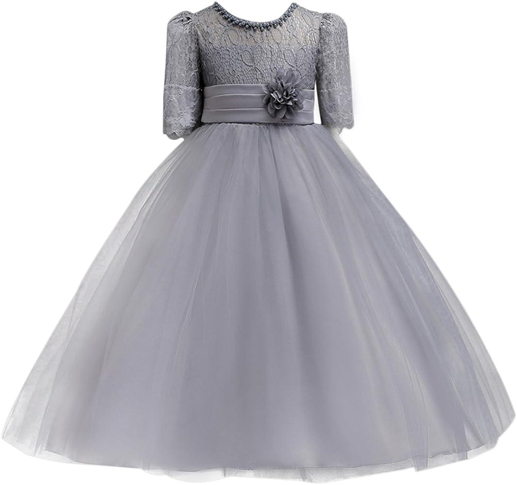 Girl Kids Flower Dress Wedding Party Lace Princess Evening Dress 3 to 13 Yrs