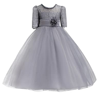 616a3a7e9 Little Big Girl Lace Flower Princess Prom Dress for Kids Tulle Party Fall  Dance Ball Gown