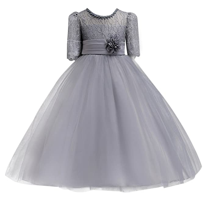 6a8fa699337cd Little Big Girl Lace Flower Princess Formal Dress for Kids Tulle Party  Dance Ball Gown Wedding Pageant