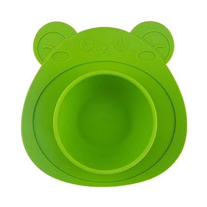 YHLVE - Plato para niños (100% Silicona, con Ventosa, Bandeja de Silicona