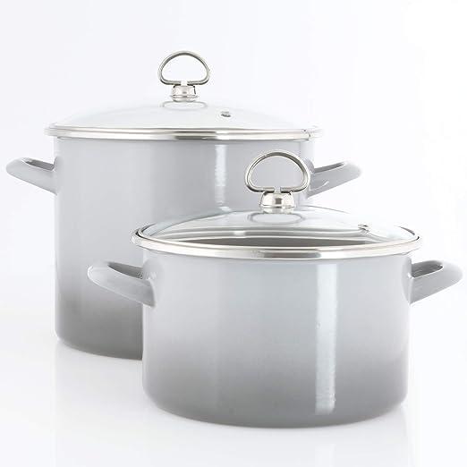 Faded Grey Chantal 4 Quart Enamel-On-Steel Soup Pot With Glass Lid