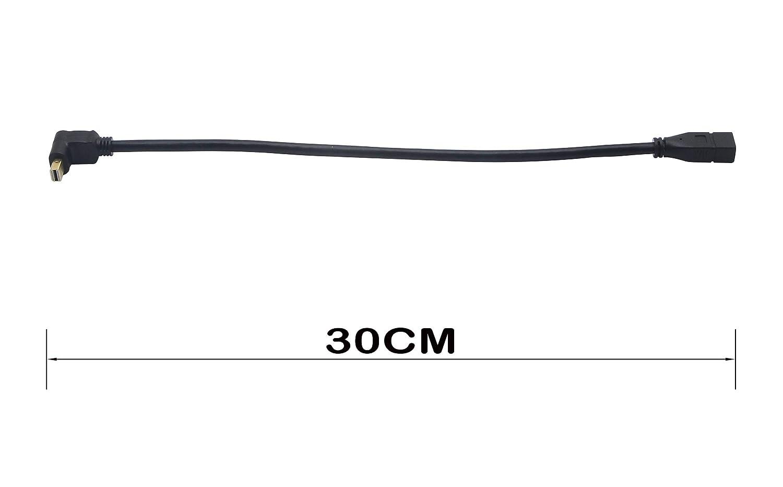 c/âble dextension CERRXIAN Mini DisplayPort 1.2 avec support vid/éo 4K en noir-0.3m coude droit C/âble dextension mini DP