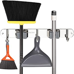 Broom Mop Holder, Stainless Steel Heavy Duty Wall Mount Storage Organizer Tools Hanger with 2 Racks 3 Hooks for Kitchen Bathroom Closet Garage Office Garden (2 Racks 3 Hooks)