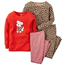 Carters Baby Girls 4-Piece Snug Fit Cotton PJs Scottie Dog with Cheetah Print 12M