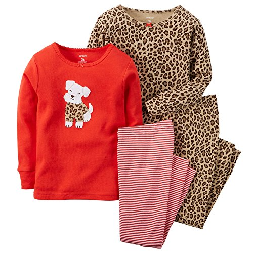 Carters Baby Girls 4-Piece Snug Fit Cotton PJs Scottie Dog with Cheetah Print 18M