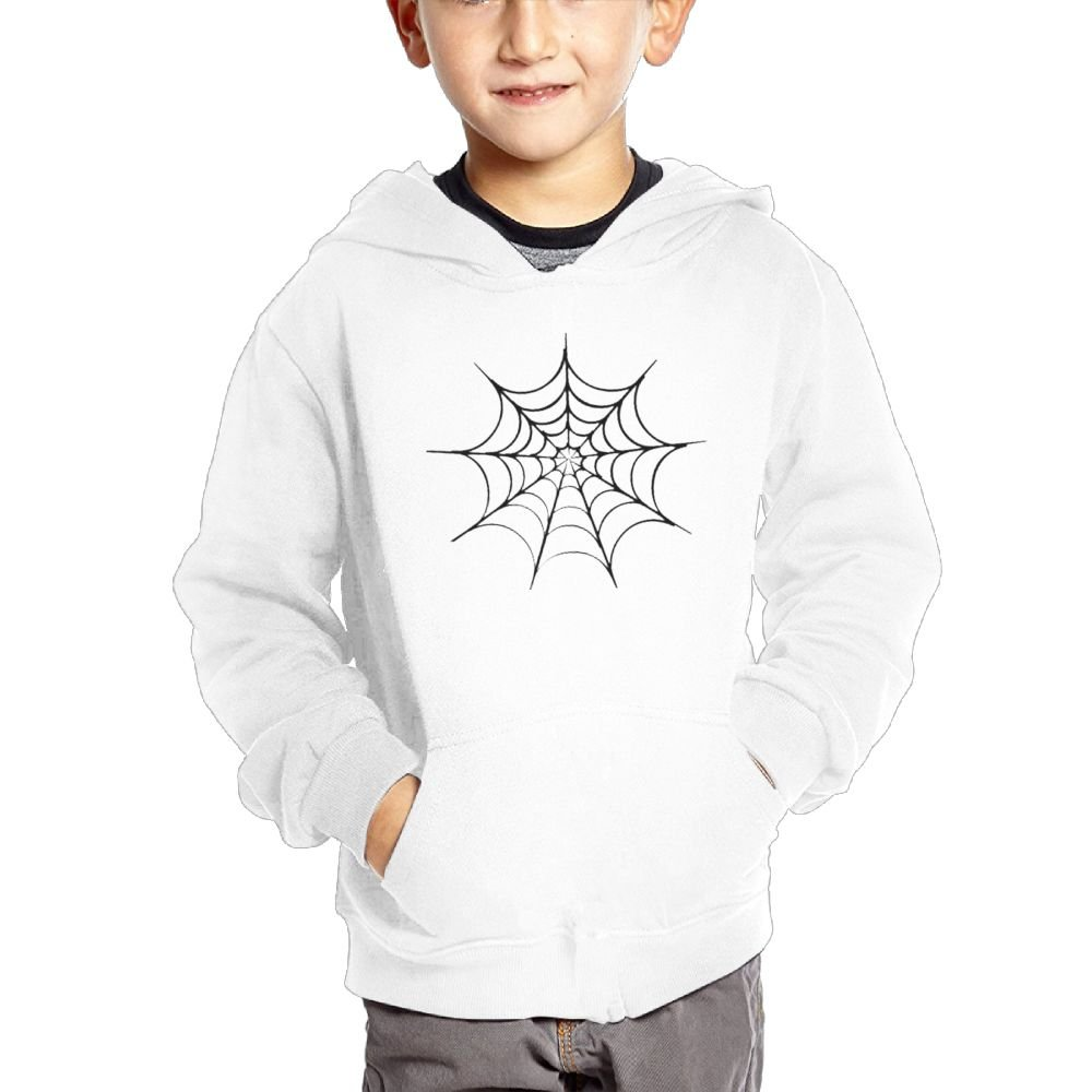 Anutknow Black Spider Net Pattern Childrens Fashion Casual Hooded Pocket Sweater