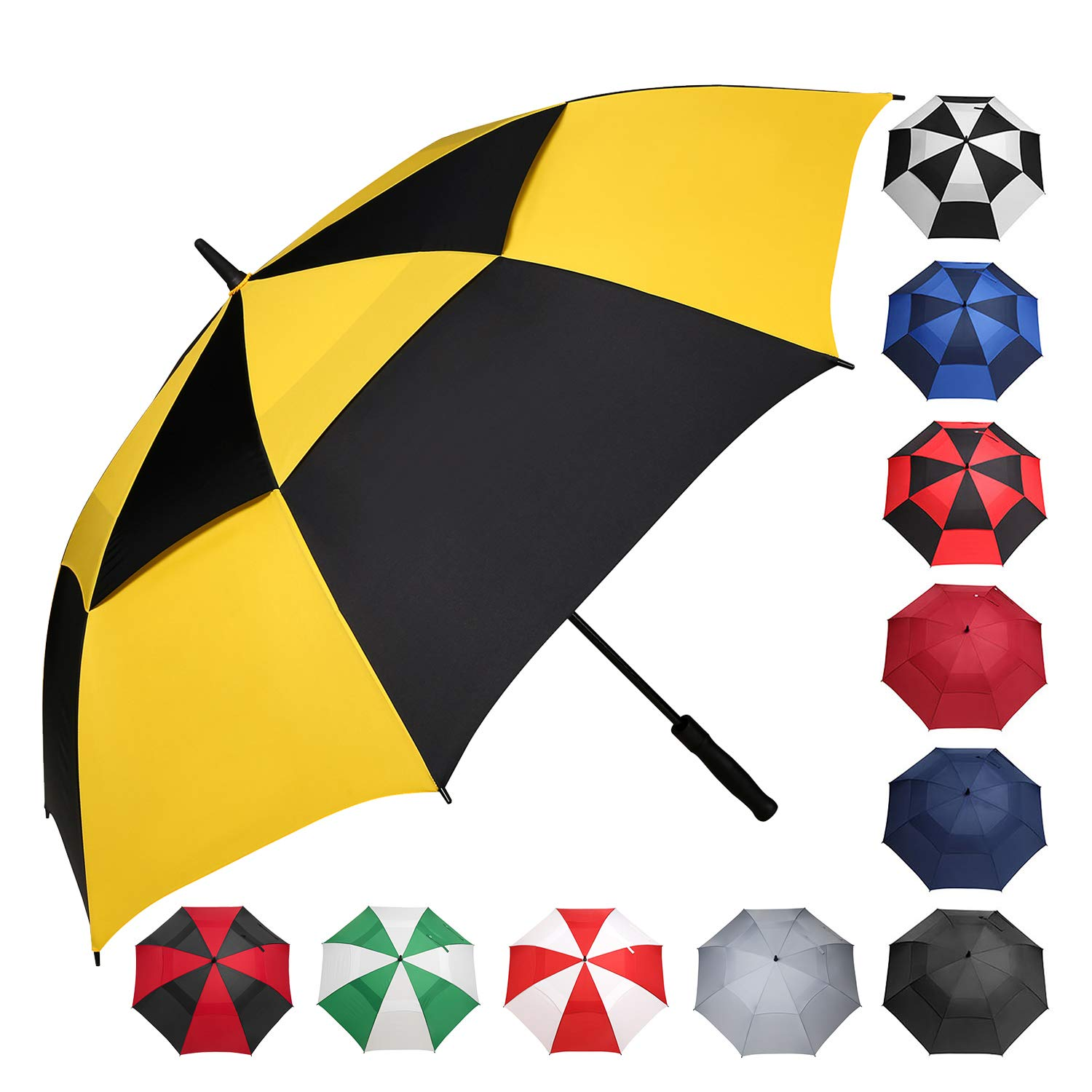 BAGAIL Golf Umbrella 68/62/58 Inch Large Oversize Double Canopy Vented Windproof Waterproof Automatic Open Stick Umbrellas for Men and Women (Yellow Black, 62 inch) by BAGAIL