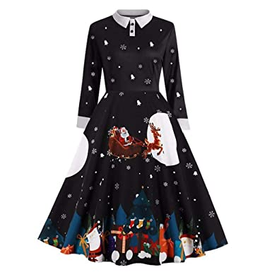 TAOtTAO Vestido de Mujer con Estampado de Copos de Nieve de Manga ...