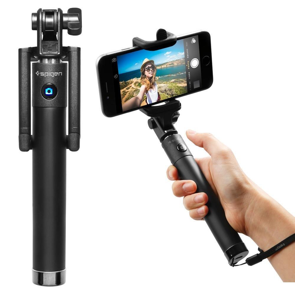 Spigen S520 Selfie Stick New Generation Bluetooth Selfie Stick with Remote Shutter for iPhone X / 8/8 plus / 7/7 plus/Galaxy Note 8 / S8 / S8 Plus/Pixel / XL/LG G6 / G5 and More - Black SGP11721