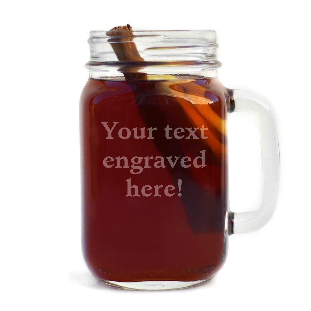 Personalized Handled Mason Jar Engraved with Your Custom Text