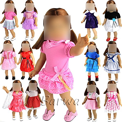Barwa 5 PCS Outdoor Casual Outfit /Wear Dresses Clothes Fits 18 Inches American Girl Dolls Xmas Gift (American Girl Dolls Only)
