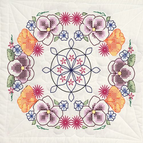 - Fairway 98211 Quilt Blocks, Pansy Circle Design, White, 6 Blocks Per Set