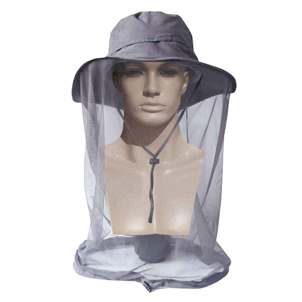 AYAMAYA モスキートヘッドネットハット メンズ レディース 幅広つば 日焼け防止帽子 フェイスネックマスク付き ヘッドカバー ネット 虫 ハチ ニット バケットハット キャップ 釣り キャンプ ガーデニング用   B07D5DWWJH