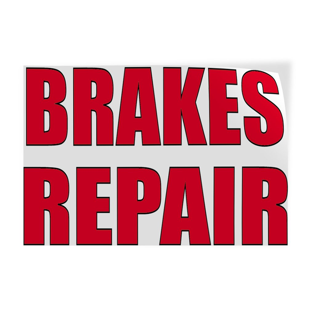 Decal Sticker Multiple Sizes Brakes Repair #2 Automotive Brake Outdoor Store Sign White 52inx34in Set of 2