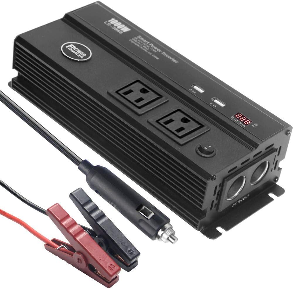500W Power Inverter Charger DC 12V to 110V AC Car Inverter with Digital Display Dual Socket Cigaretee Lighter 4.8A Dual USB Charging Ports Car Charger Adapter for Car Trucks Laptop Travel