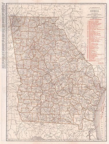 Atlas Railroad Map Rare (Historic Map | 1920 New Commercial Atlas Map of Georgia: Georgia Railroads | Rand McNally)