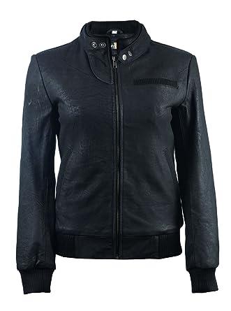 31faed1d729 FactoryExtreme FE Alla Black Leather Bomber Jacket Women | Real Flight  Pilots Stylish Ladies | Distressed