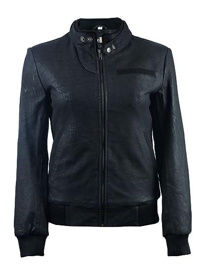 Fe Alla Black Leather Bomber Jacket Women Real Flight Pilots