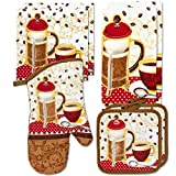 Kitchen Towel Linen Set of 7 Pieces Coffee Tea Themed Design | 2 Kitchen Towels, 2 Potholders, 2 Scrubber Dishcloth, and 1 Oven Mitt | Home Collection Gift Set (Coffee/Tea)